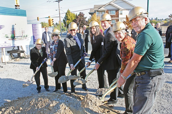 Family owners/operators of EY Properties came out to break ground on Saanich's first purpose-built rental housing project in  25 years