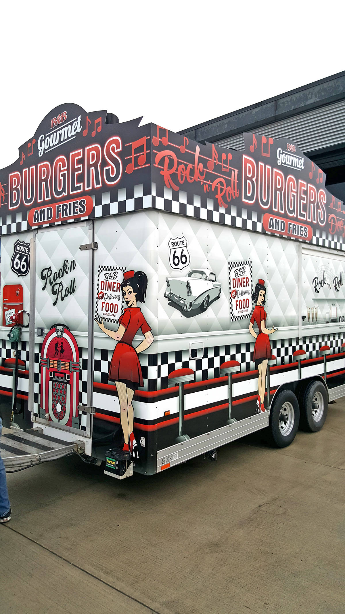 Brian Jones created Milkshake Burgers to match his new 1950s diner trailer at the Fair at the PNE this year. Submitted photo