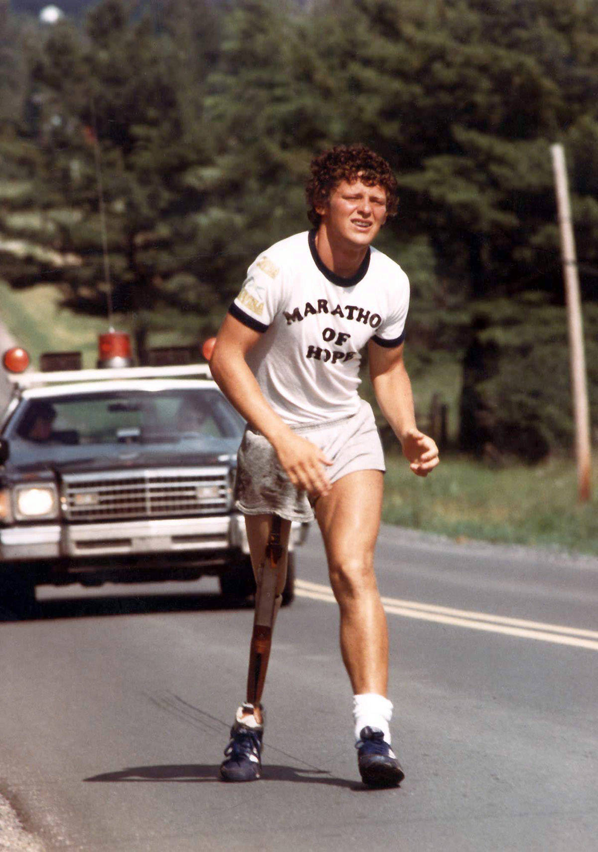 Marathon of Hope runner Terry Fox is shown in a 1981 file photo. The Terry Fox Research Institute has launched a new national network to bring together leading cancer hospitals and research universities across Canada. THE CANADIAN PRESS/CP