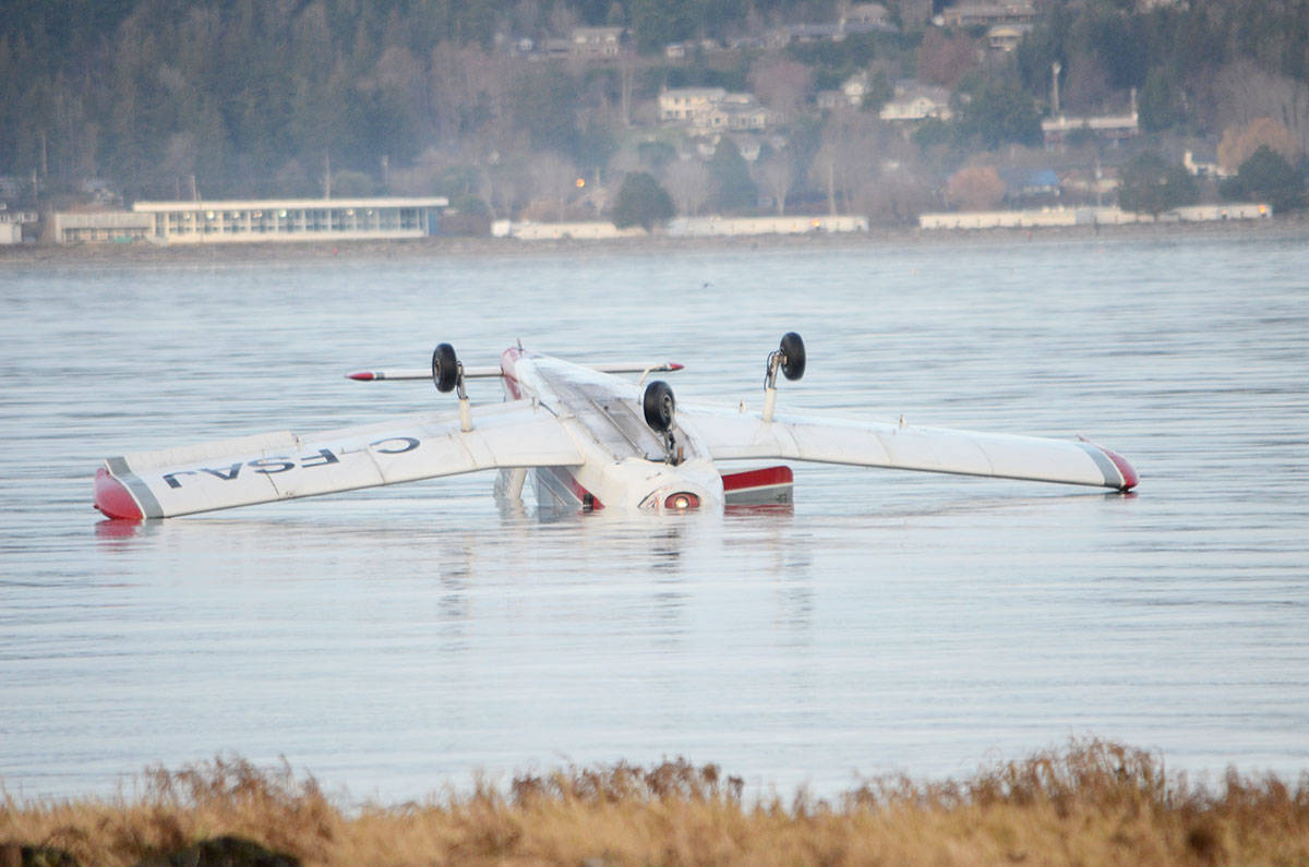 A small crash in the water south of Courtenay Saturday afternoon. Two men had to be rescued, but reports indicate there were no serious injuries. Photo by Mike Chouinard